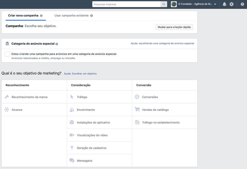 objetivos de marketing do facebook ads
